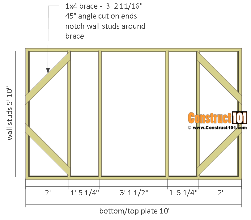 Chicken coop run plans - 10x8 - front wall frame.