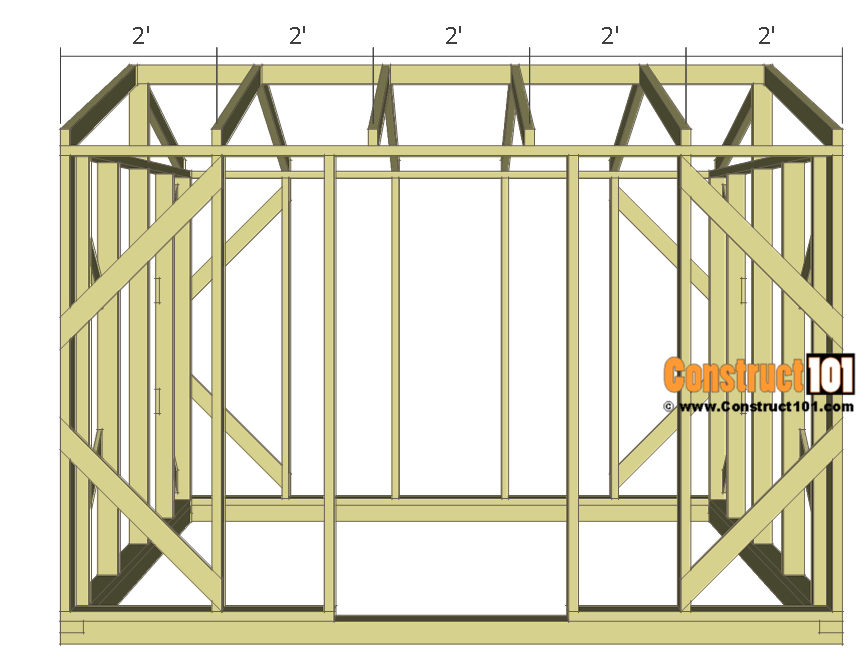"Chicken coop run plans - 10x8 - rafters 24"" O.C."
