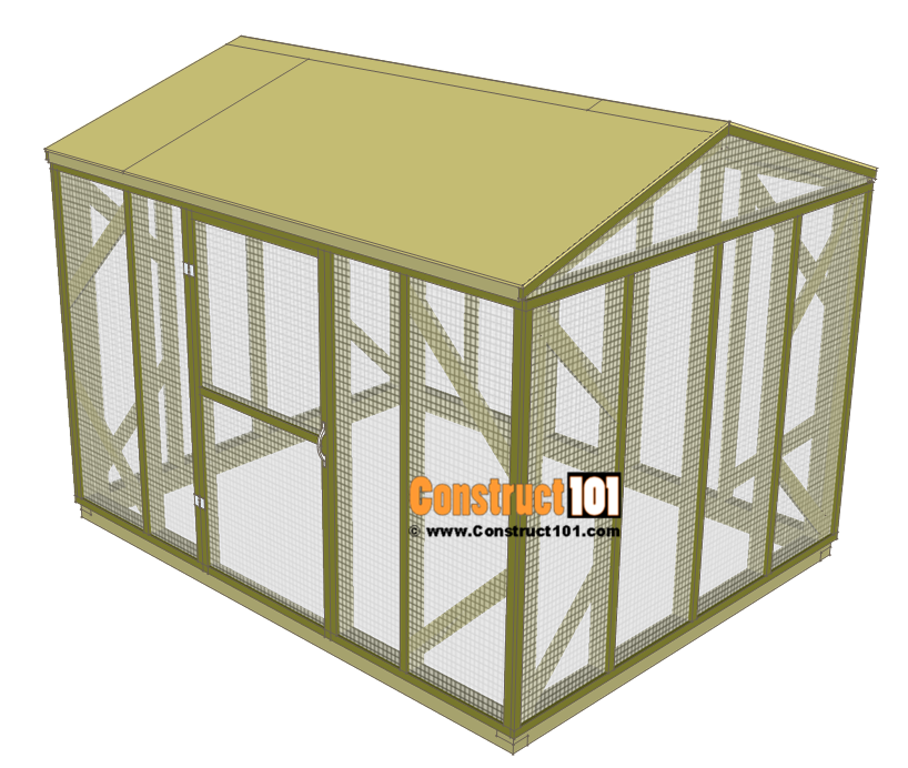 Chicken coop run plans - 10x8 - roof deck.