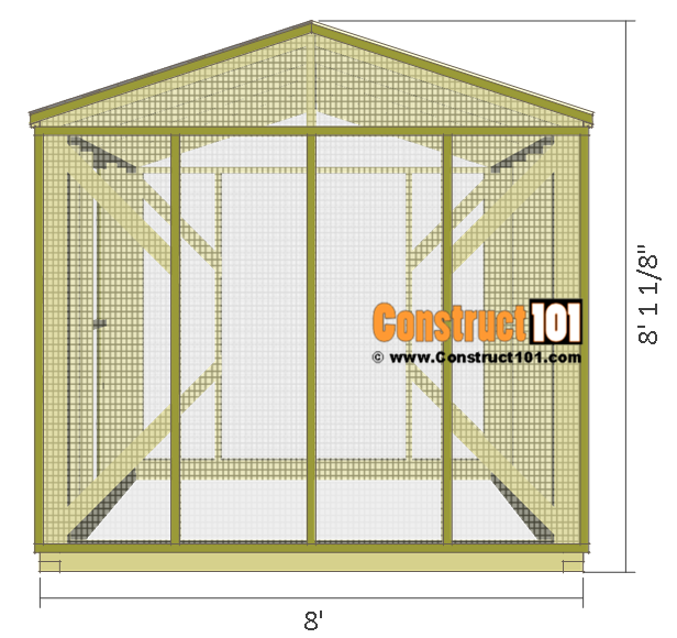 Chicken coop run plans - 10'x8', side view.
