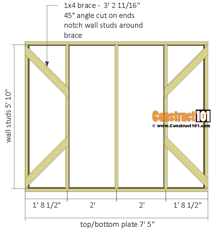 Chicken coop run plans - 10x8 - side wall frame.