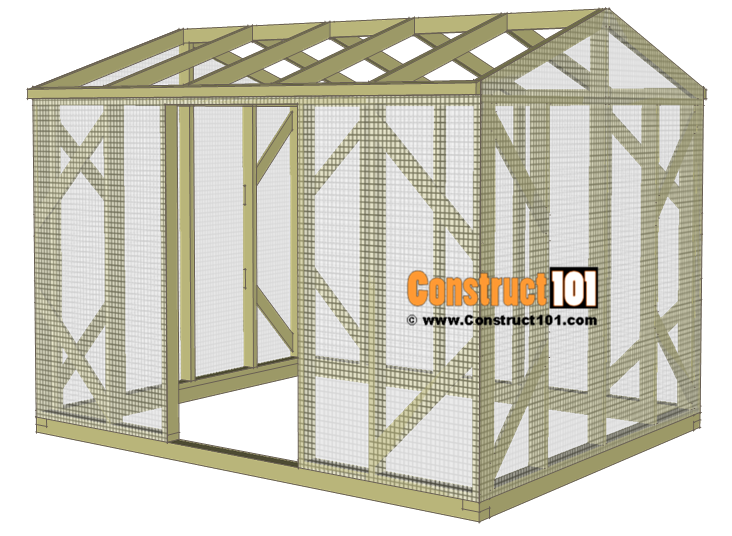Chicken coop run plans - 10x8 - install wire mesh.