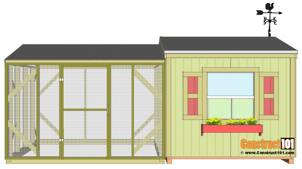 Large chicken coop plans, front view.