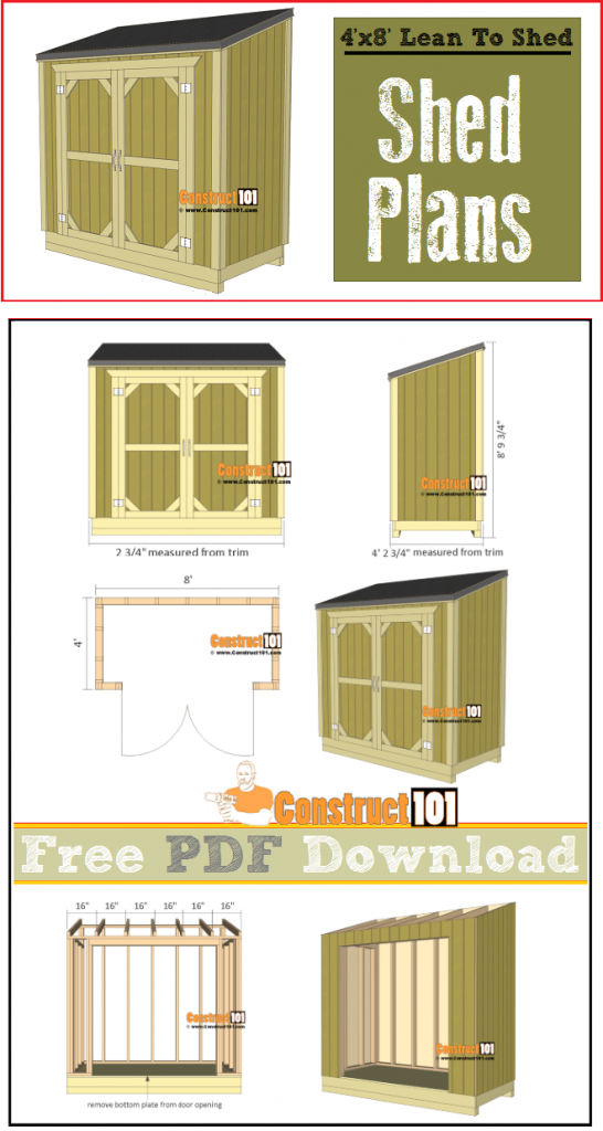 Lean to shed plans - 4'x8' free PDF download, shopping list, and cutting list.