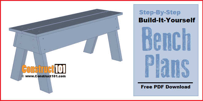Simple DIY bench plans, free PDF download.