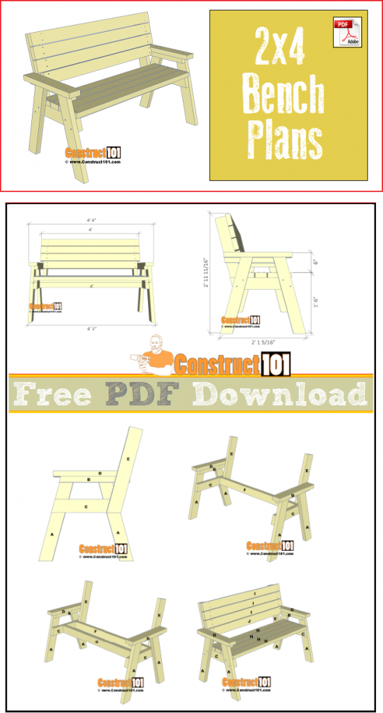 2x4 Bench Plans Pdf Download Construct101