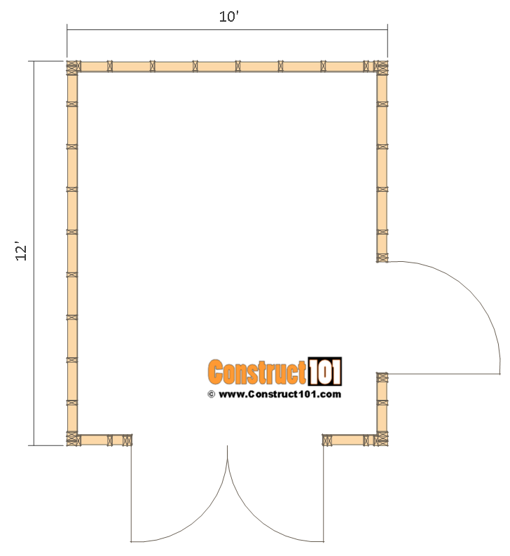 Shed plans 10x12 gable shed step by step construct101 for 10x8 shed floor plans