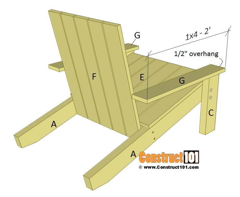 Simple Adirondack chair plans, arm rest.
