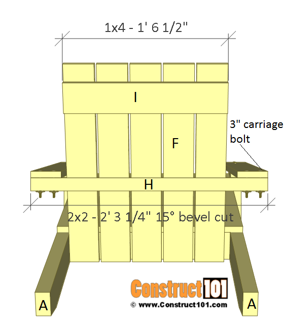 Simple Adirondack chair plans - step 7.