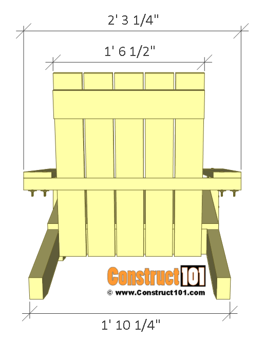 Simple Adirondack chair plans - back view.