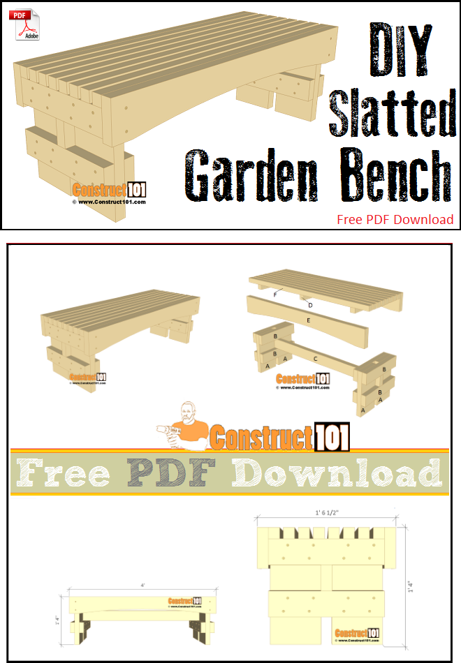 Slatted garden bench plans - free PDF download, step-by-step details, and material list.