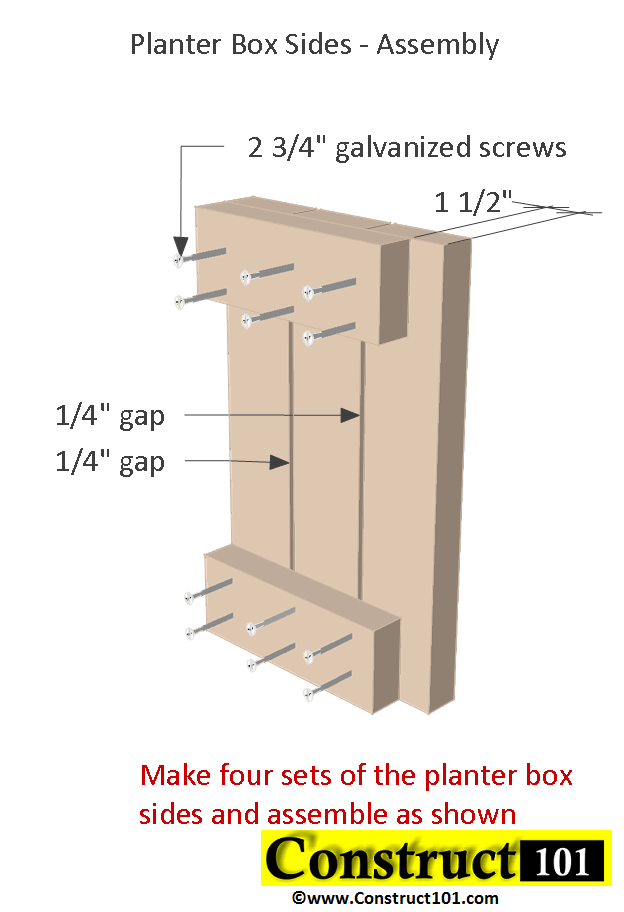 Planter Bench Plans Built With 2x4 S Free Pdf Construct101
