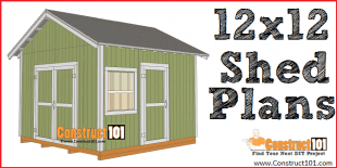 12x12 gable shed plans - free PDF download, material list, and drawings, at Construct101