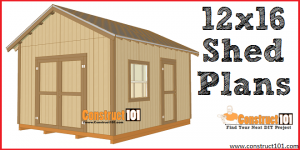 12x16 shed plans - free PDF download, material list, and drawings, at Construct101
