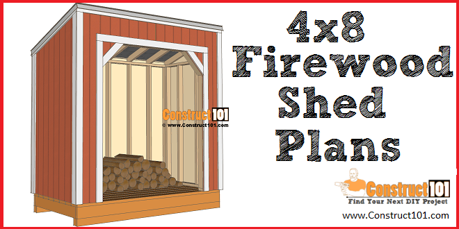 4x8 firewood shed plans - free PDF download, DIY projects at Construct101