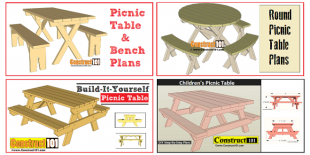 Free picnic table plans, plans incluse step-by-step details, material list, and illustrations.