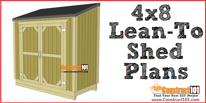 Lean to shed plans, free PDF download, material list, and drawings, at Construct101.