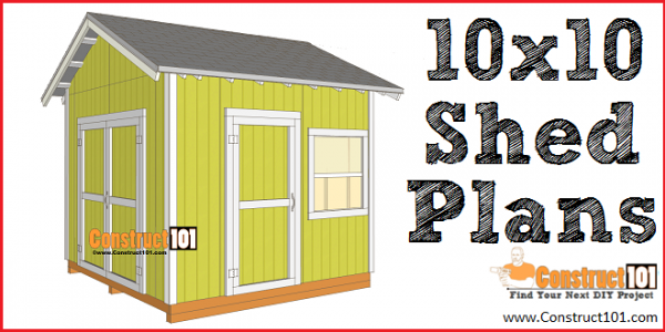 10x10 shed plans gable shed - free PDF download, material list, and detailed instructions, at Construct101