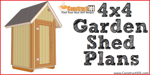 Small 4x4 garden shed plans, free PDF download.