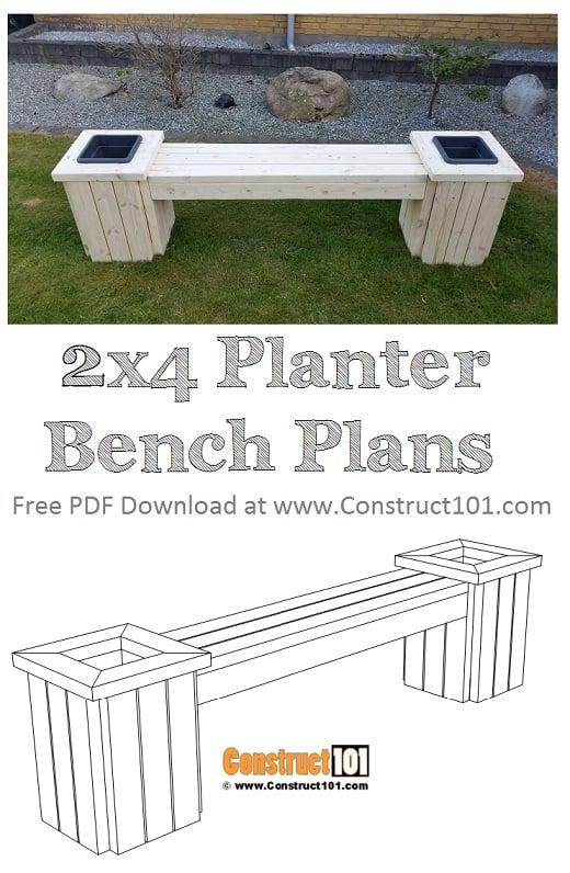 2x4 planter bench plans free PDF download