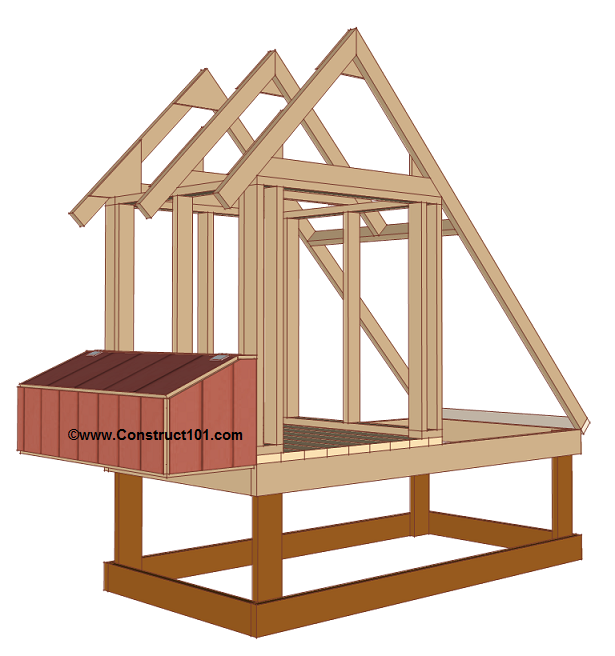 Free 4x8 chicken coop plans nest box.