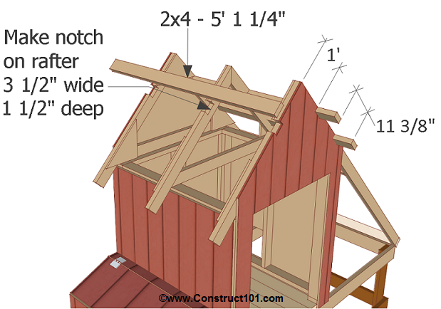 Free 4x8 chicken coop plans notch rafters.