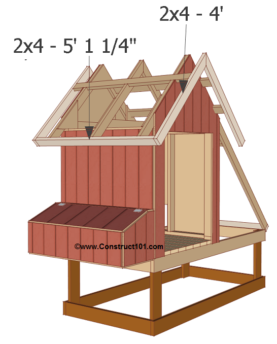 Free 4x8 chicken coop plans roof trim.