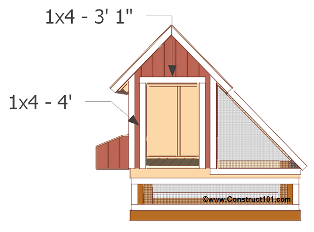 Free 4x8 chicken coop plans front door opening trim.