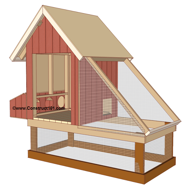 Free 4x8 chicken coop plans, install wire mesh.
