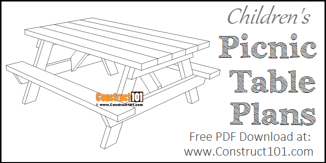 Children's picnic table plans, free PDF download.