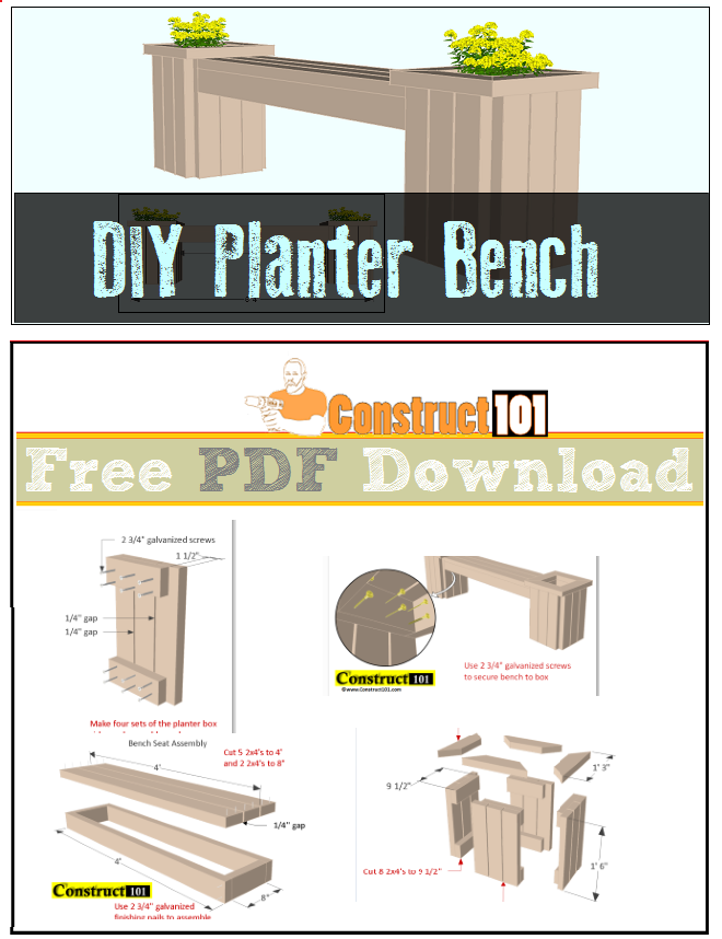 Planter Bench Plans Free Pdf Cutting List And Ping