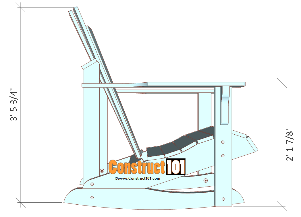 Adirondack Rocking Chair Plans Construct101