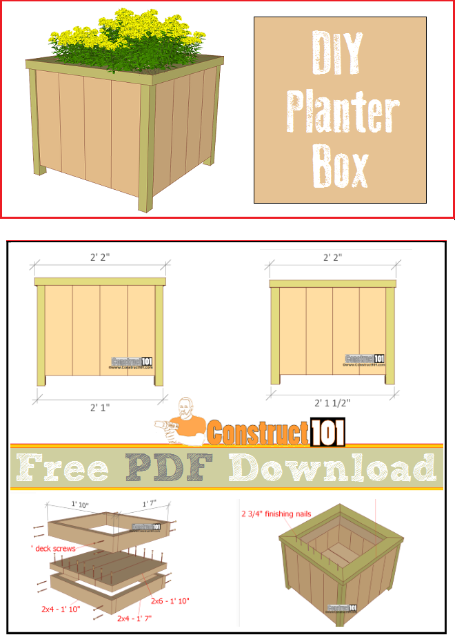 Planter box plans, free PDF download, cutting list, shopping list.