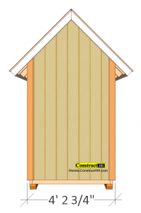 small shed plans 4'x4' gable shed back view