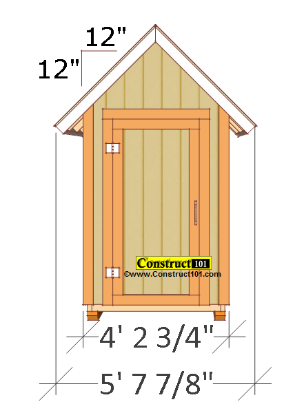Small Garden Shed Plans Pdf Front View Measures 4 2 3 Measured From The Trim