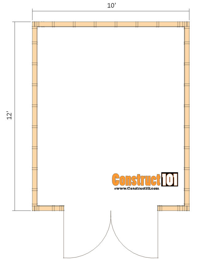 10x12 shed plans -gambrel shed - floor view