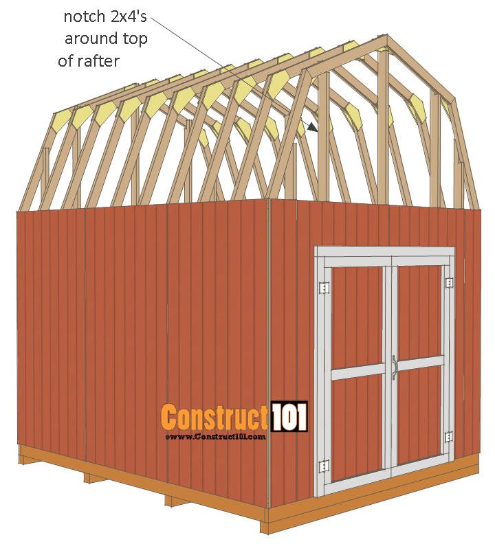 10x12 shed plans -gambrel shed - notch 2x4