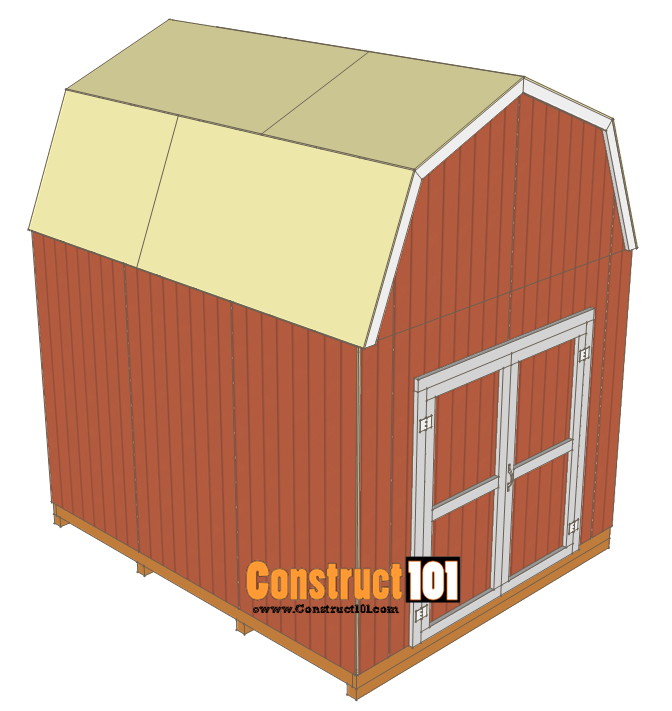 10x12 shed plans -gambrel shed - roof deck