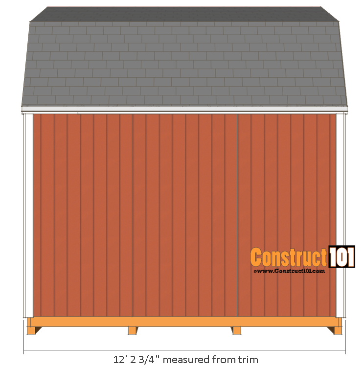 10x12 shed plans -gambrel shed - side view