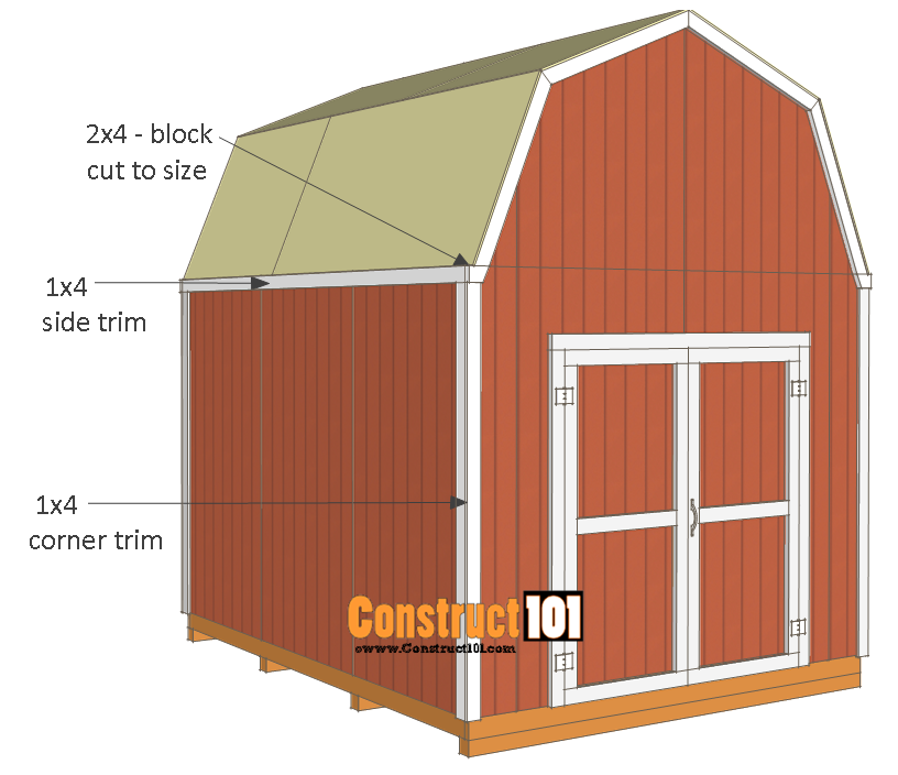 10x12 shed plans -gambrel shed - corner trim - side trim