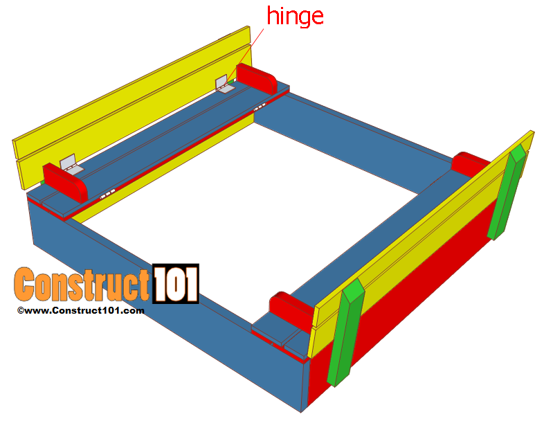 sandbox plans with bench and lid step 6