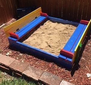 diy sandbox - lid open - bench