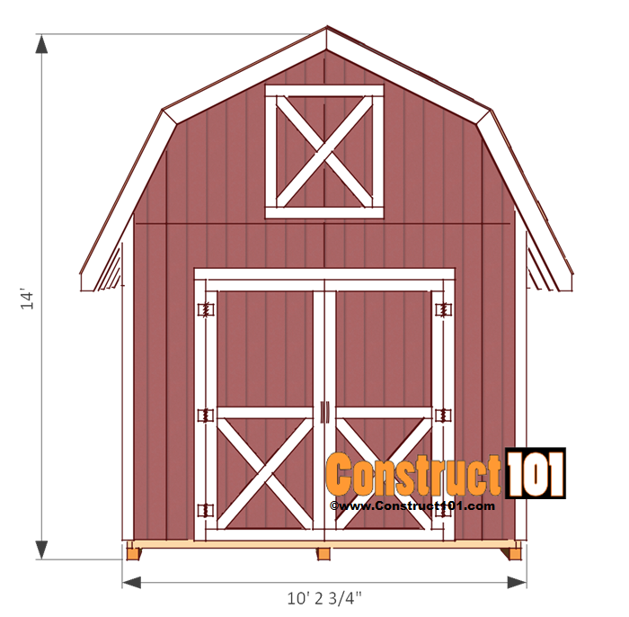 Easy Diy 4 X6 Chicken Coop Hen House Plans Pdf: Shed-plans-10x12-gambrel-front
