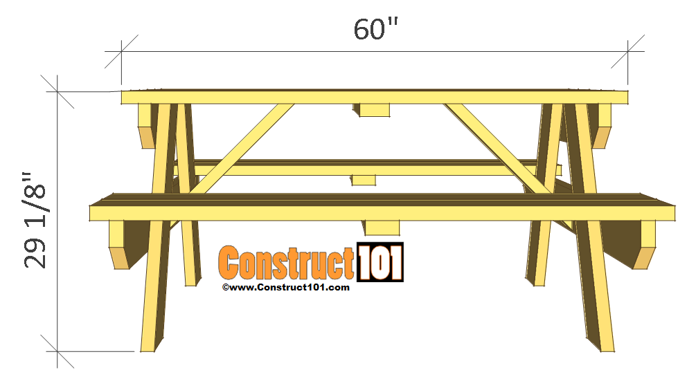 Picnic Bench And Table Plans Traditional Picnic Table Plans Construct101