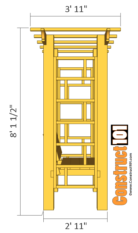 Garden Arbor Bench Plans Side View