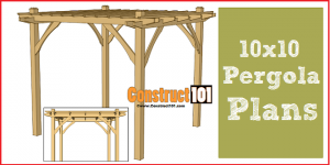 Pergola plans - 10x10 DIY pergola, includes cutting list and shopping list.