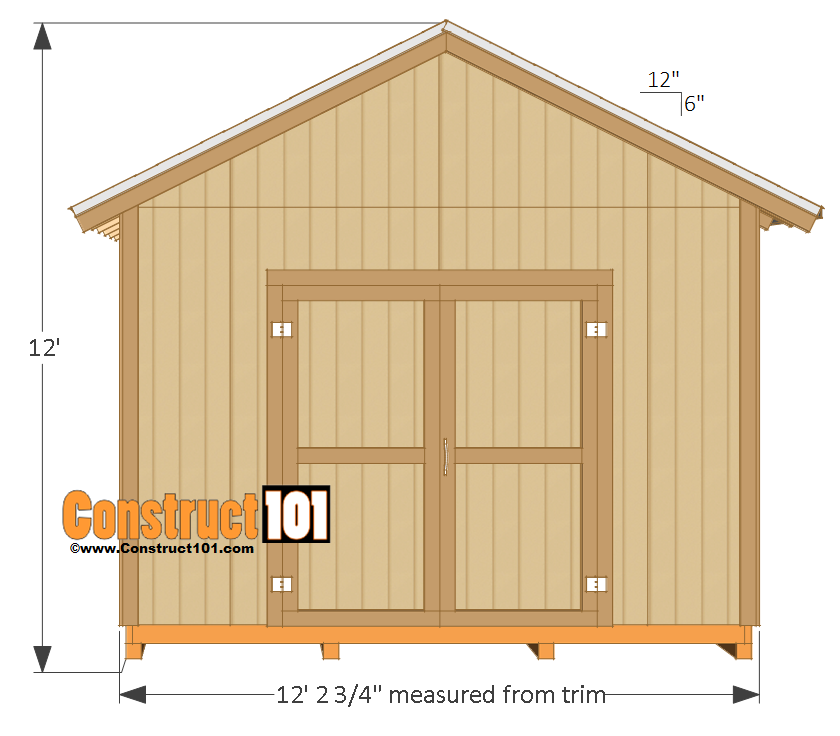12x16 shed plans gable design construct101 for Shed house layout