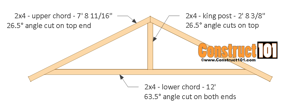 12x16 shed plans - truss measurements