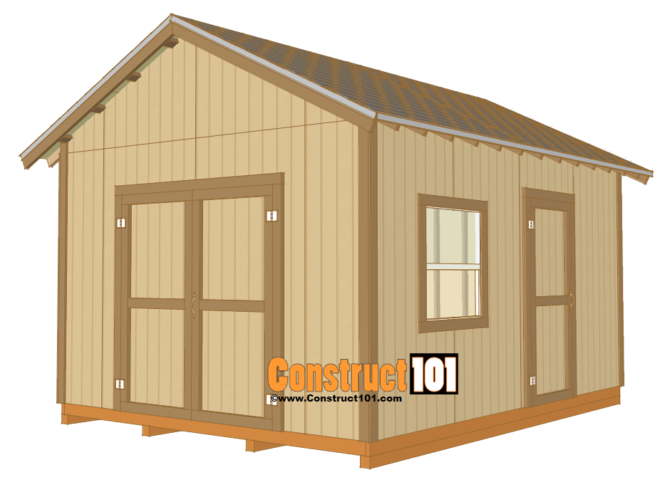 12x16 shed plans gable design construct101 for Gable designs