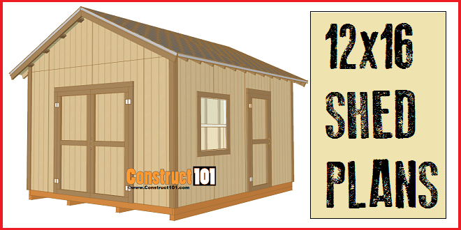 12x16 shed plans gable design construct101 for Shed building plans pdf
